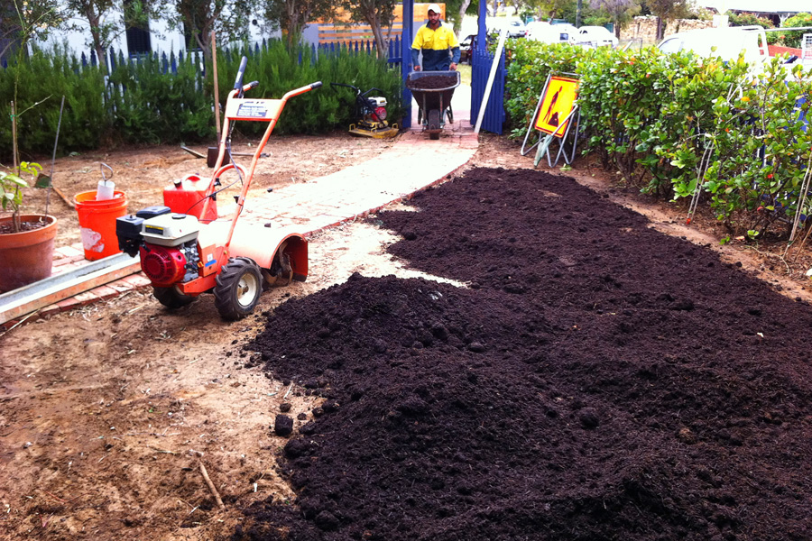 Adding compost and bentonite clay.